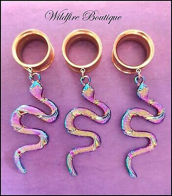 AU16.95 • Buy Pair Gold Glam Rainbow Curling Snake Dangle Stainless Ear Tunnels Plug 6-25mm