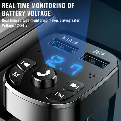 AU10.62 • Buy Bluetooth5.0 Wireless Handsfree Car FM Transmitter MP3 Player 2 USB Charger ✨