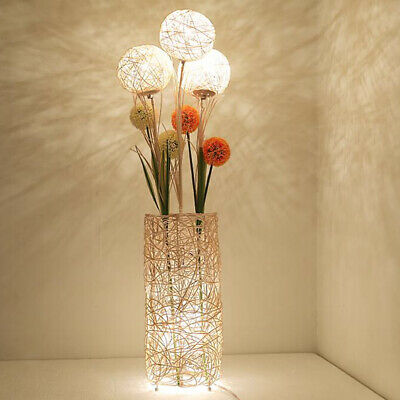 Modern Rattan Floor Lamp Cylinder Night Light Flower Lanterns Bedroom Reading • 73.96£