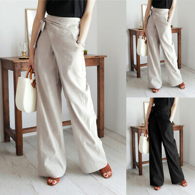 New Plus Size Women's Lace Up Palazzo Wide Leg Flared Ladies Trousers Pants 8-26 • 11.99£