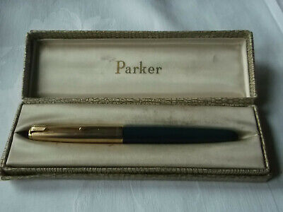 Vintage Parker 51 Fountain Pen Working Order. 12ct Rolled Gold Lid. Boxed • 9.99£