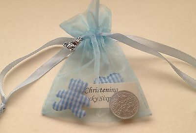 £2.99 • Buy Lucky Sixpence In Gift Bag & Silver Bear Charm - Baby Boy - Christening Present