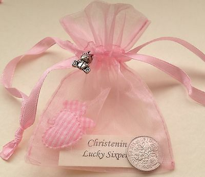£2.99 • Buy Lucky Sixpence In Gift Bag & Silver Bear Charm - Baby Girl - Christening Present