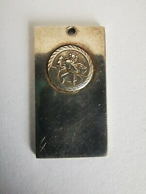 Sterling Silver St Christopher Dog Tag/Ingot Style Pendant - Religious/Christian • 18£