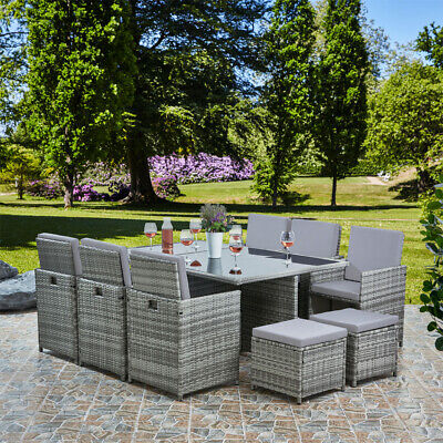 £969 • Buy Deluxe 11 Piece 10 Seater Rattan Cube Dining Table Garden Furniture Patio Set