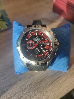 Mens Bulova Marine Star Chronograph Watch With Black And Red Dial 96B186  • 125£