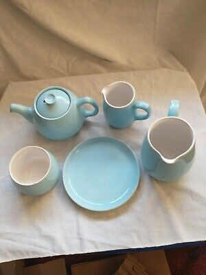 Langley Mill/Denby Pottery Teapot, Jugs, Plate And Bowl In Pale Blue • 4.28£