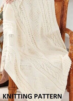 £1.99 • Buy (166) Throw Blanket COPY Knitting Pattern, Diamond & Cable Design In Aran Yarn