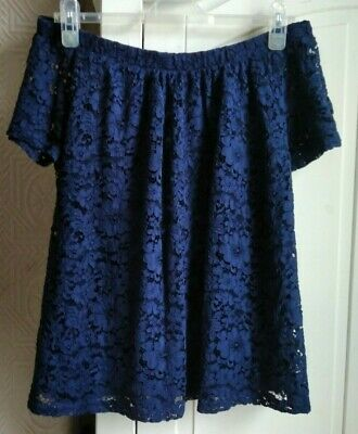 Lovely Ladies Navy Bardot Style Top, All-over Lace Size 18 • 1.75£