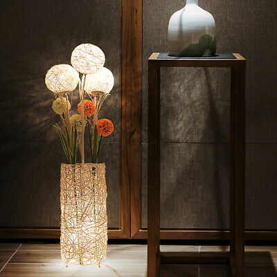 Rattan Floor Lamp Tall LED Bedside Night Light With Dandelion Flowers Home Decor • 73.97£