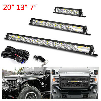 AU24.52 • Buy 20  13  7 In LED Light Bar Offroad Slim Dual Row Combo Spot Flood Wiring Harness