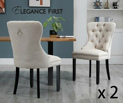 AU349 • Buy 2 X  Beige French Provincial Fabric Dining Chairs Upholstered Tufted Back Studs