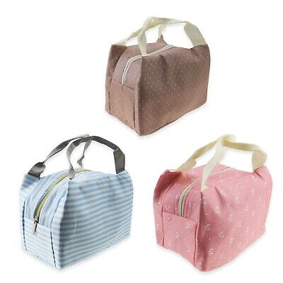 Blue/Pink/Gray Purple Insulated Bag Thermal Cooler Lunch Carry Case Adults Kids • 7.46£