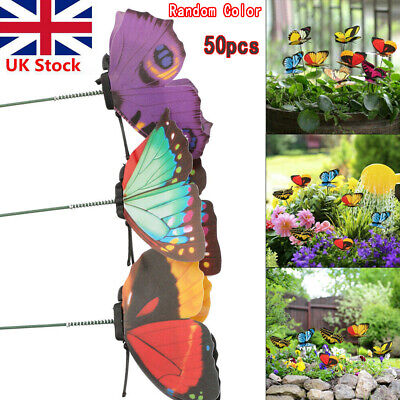 50* Colorful Garden Butterflies Stakes Patio Home Ornaments On Sticks Lawn • 8.49£
