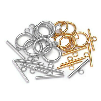 £4.99 • Buy 8pcs Round Toggle Clasps Silver Stainless Steel Ring Findings Jewelry DIY Buckle