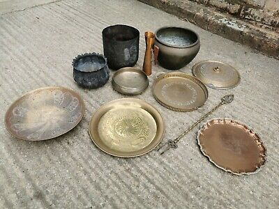 Job Lot Of Brass And Copper Tableware. Plates, Pots, Vase, Poker. Indian, Asian. • 5£