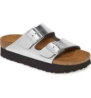 PAPILLIO Birkenstock Arizona Platform Sandals Metallic Silver Size 38 Narrow NEW • 57.88£