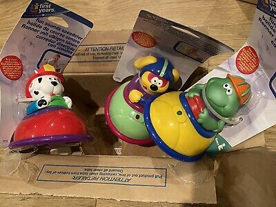 3 X New First Years Baby Fun Push Along Dog, Fireman Dog And Frog Racer Cars Toy • 3£