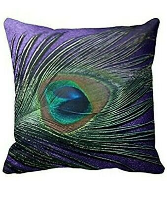 4 X Purple Peacock Feather Design Cushion Covers 18  X 18  Set Of 4 • 26£