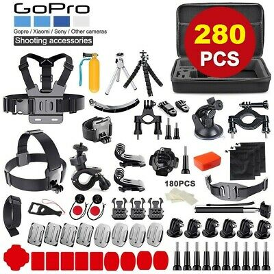 AU39.99 • Buy 280pcs GoPro Hero 9 8 7 6 5 4 Accessories Pack Case Chest Head Floating Monopod~