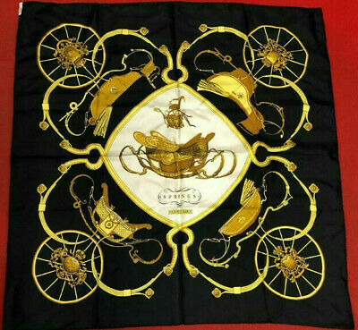 AU163.11 • Buy Hermes Scarf Scarves Wrap Light Silk 100% Authentic Black Springs 90cm
