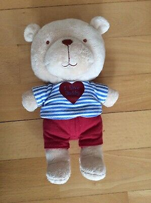 Mothercare My First Teddy Bear Small Tan Toy 9  I Love Daddy VGC • 1.70£