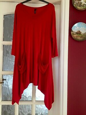 £34.99 • Buy QVC Yong Kim Aysmmetric Red Tunic With Pockets V Neck & 3/4 Sleeves Size 14