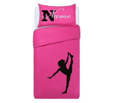 GYMNASTIC SILHOUETTE PINK *PERSONALISED*  Duvet Cover/Bedding Set Single/double • 33.99£