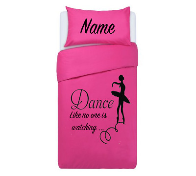 DANCE GIRLS SILHOUETTE PINK *PERSONALISED* Duvet Cover/Bedding Set Single/double • 33.99£