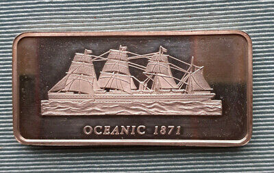 FAMOUS SHIPS CRUISE LINERS 1oz Silver Bullion Ingot ART Bar     OCEANIC 1871  • 8£