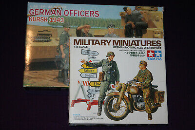 Tamiya German Motorcycle Orderly Set & 3 Dragon Officers 1:35 Scale Model Kits. • 18£