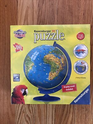 $17.99 • Buy RAVENSBURGER 3D Puzzle Children's World Globe With Stand 180 Pieces NEW