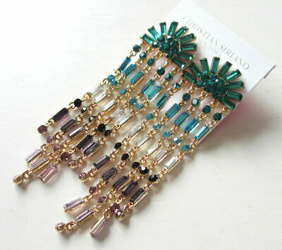 £23.01 • Buy Christian Siriano NY Green/Purple Crystal Chandelier Holiday Party Earrings NEW