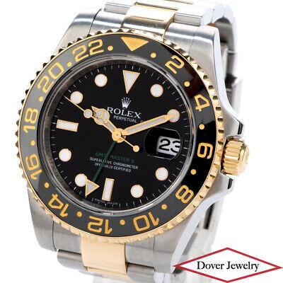 $ CDN14897.43 • Buy Rolex GMT Master II Oyster Perpetual 18K Gold Steel 40mm Men's Watch 116713 NR