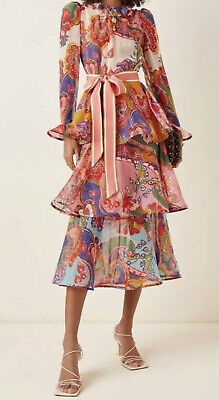 AU485 • Buy Current Zimmermann Lovestruck Flounce Midi Dress Size 0 Bnwt