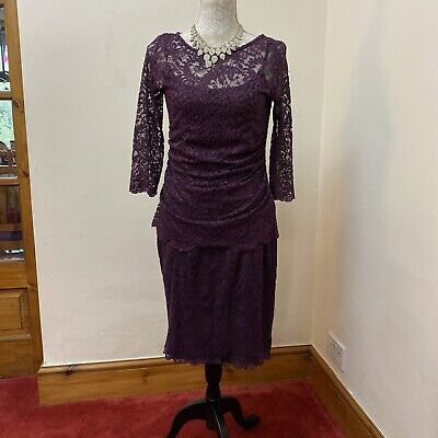 £5.99 • Buy Stunning Kaliko  Deep Lavender Coloured Lace Occasion Dress Size 10