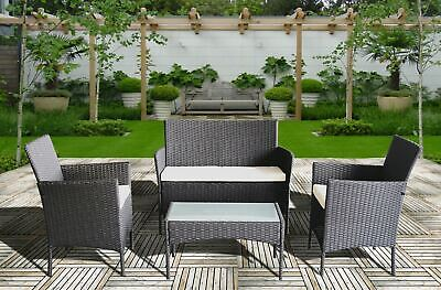 £399.99 • Buy Rattan Garden Furniture Set 4 Piece Chairs Table For Patio Outdoor Conservatory