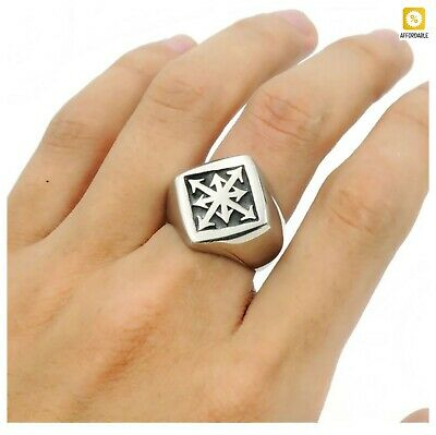 $15.58 • Buy Star Cross Ring Men Stainless Steel Gothic Magic 8 Pointed Chaos Fashion Ring