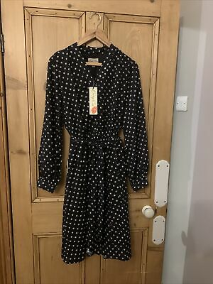 Lindy Bop Dress Size 18 New With Tags Black Polka Dot Long Sleeves Belt Lined • 12.95£