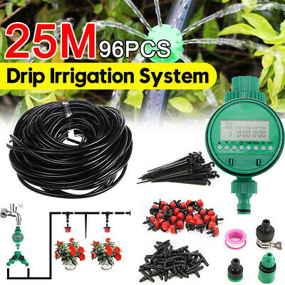 Automatic Drip Irrigation System Plant Timer Self Watering Garden 25M Hose Kit • 13.98£