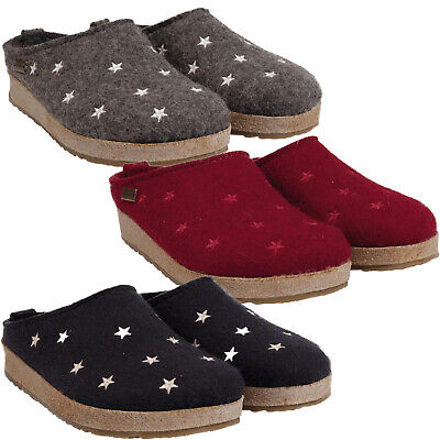 Haflinger Stars Women's House Slippers Wool Clogs Grizzly • 69.87£