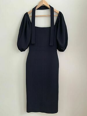 AU380 • Buy Scanlan Theodore Black Coupe Sleeve Crepe Knit Dress Size S BNWT