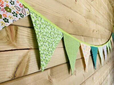 £9 • Buy Bunting💚 💛Green & Yellow Floral Polka Stripe Shabby Chic Vintage Fabric 3m💚💛