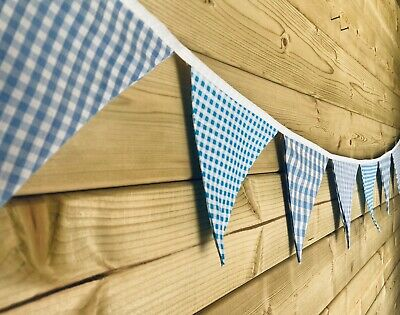 £9 • Buy Bunting💙Mixed Blue Gingham Shabby Chic Traditional Room Decor Fabric 9ft💙