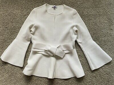 AU202.50 • Buy SCANLAN THEODORE White Crepe Knit Ruffle Jacket W Belt S M