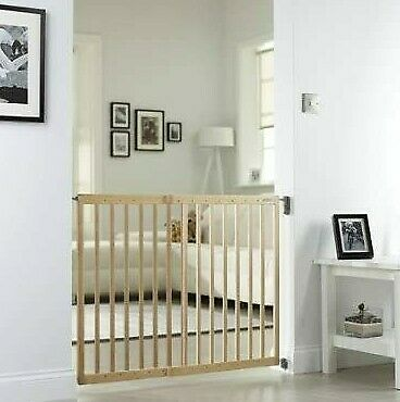 £38.89 • Buy Wooden Extendible Stair Gate Wall Gate Safety Stairs Double Lock Baby Pet