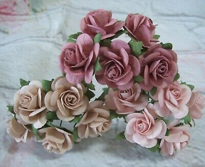 £2.30 • Buy 10X Mulberry Paper Roses Flowers 2.5cm Varied Colours Card Making Crafts