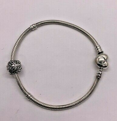 AU59.40 • Buy PANDORA Sterling Silver Bracelet With Heart Clasp 7.5  With Butterfly Bead