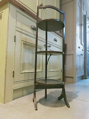 £40 • Buy Vintage / Antique Folding 3 Tier Mahogany Cake / Plant Stand