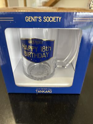 Gents Society Happy 18th Birthday Blue Glass Tankard Gift Boxed  • 6.50£